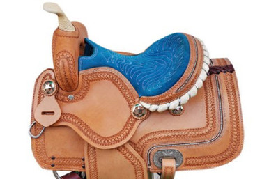 "western legacy natural pony barrel racer carved 13"" saddle"