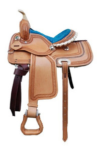 "western legacy pony barrel racer carved 13"" saddle"