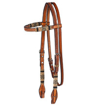 Western Natural Leather Hand Tooled Headstall with Rawhie Braiding By Aledo Saddlery