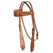 Western Natural Leather Hand carved  Browband Style Headstall with Black Hand Painted Inlay By Aledo Saddlery