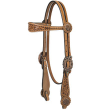Western Natural Leather Hand Carved Browband Style Headstall By Aledo Saddlery