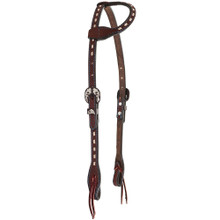 Western Dark  Brown Oil Leather Buckstiched One Ear Style Headstall By Aledo Saddlery