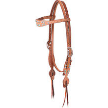 Western Natural Leather Browband Style Headstall by Aledo Saddlery