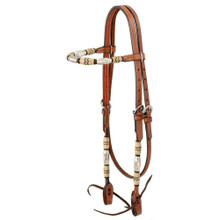 Western Natural Leather Browband Style Headstall with Silver Ferrels by Aledo Saddlery