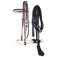 Western Brown Leather Browband Style Headstall with Bosal and Nylon Reins by Aledo Saddlery