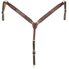 "Western Dark Brown Leather Hand Carved Arrow  2.0"" Wide Breast Collar  by Aledo Saddlery"