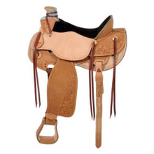 Western Natural Leather Roper Wade Hand Tooled Saddle by Aledo Saddlery