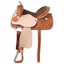 Western Light Brown Leather/Roughout Barrel Racer Hand Tooled Saddle by Aledo Saddlery