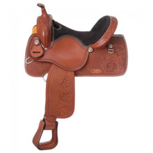 Western American Cowhide Tan Leather Barrel Racer Hand  Tooled Saddle by Aledo Saddlery