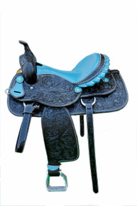 Western Black Leather Hand Carved Barrel Racer Saddle With Blue Gator Seat by Aledo Saddlery
