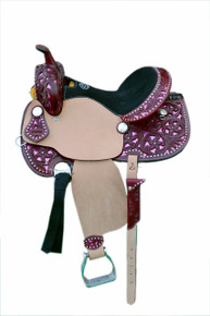 Western Mohogany & Rough Out Leather Hand Carved Leather Pink Cutout Barrel Racer Saddle BY Aledo Saddlery