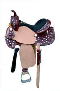 Western Mahogany & Rough Out Leather Hand Carved Leather Torquoise Cutout Barrel Racer Saddle BY Aledo Saddlery