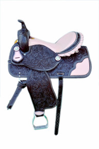 Western Dark Brown Hand Carved Barrel Racer Saddle with Pink Gator Inlay and SeatBy Aledo Saddlery