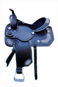 Western Black Leather Hand Carved Barrel Racer Saddle with Beaded Inlay By Aledo Saddlery