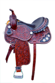 Western Dark Tan Leather Hand Carved Barrel Racer with Black Paint Inlay Saddle By Aledo Saddlery