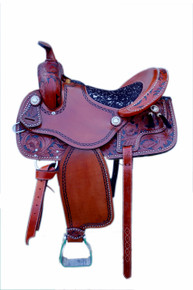Western Tan Leather Hand Carved and Tooled Barrel Racer with Tassle By Aledo Saddlery