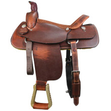 Western Light Brown Leather Roper Ranch Plain Saddle By Aledo Saddlery