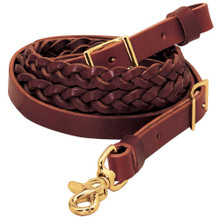 "Western Havana Leather 7/8"" Wide Leather Braided Roping Reins By Aledo Saddlery"