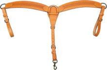 """Western Natural Leather Hand Carved 2.5"""" Wide Breast Collar By Aledo Saddlery"""