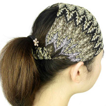 kilofly Knit Crochet Headband, Wavy Fantasy, with Faux Pearl Flower Hair Band
