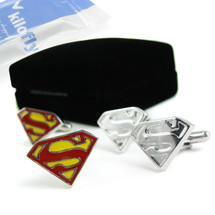 kilofly Cufflinks Combo [Set of 2 pairs] - Double Superman, with Velvet Gift Box