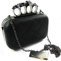Missy K Skull Ring Clutch Purse, Hard, Detachable Strap + kilofly Money Clip