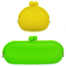kilofly Candy Color Soft Silicone Coin Purse & Multi-Purpose Pouch Combo Set