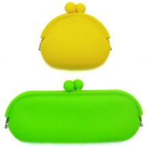 kilofly Candy Color Soft Silicone Coin Purse & Multi-Purpose Pouch Combo Set