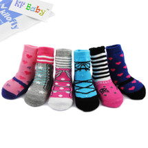 KF Baby Non-Skid Baby Girl Shoe Socks, 6 pairs, for 6 - 18 Months