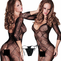 kilofly Sexy Sheer Open Crotch Bodystocking, Black, Diamond, with G-string