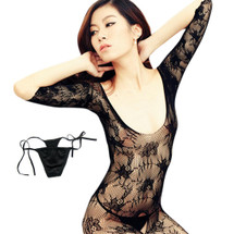 kilofly Sexy Sheer Open Crotch Bodystocking, Black, Small Floral, with G-string