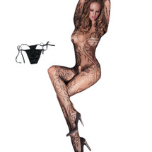 kilofly Sexy Sheer Open Crotch Bodystocking, Black, Floral, with G-string