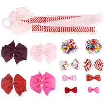 kilofly Baby Girls 12 Mix & Match Hair Bow Clips + Ribbon Holder Value Set