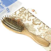 kilofly Natural Sandalwood Cushion Massage Hair Brush Comb + Carrying Pouch