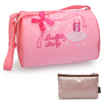 kilofly Ballerina Ballet Story Dance Bag + Handy Pouch with Mirror