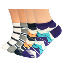 kilofly Men Cotton Low-cut Ankle Socks Mixed Style Value Pack [Set of 6 pairs]