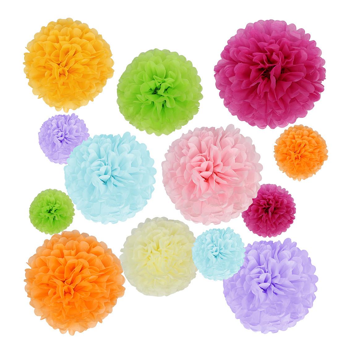 Kilofly 24pc Nice Wedding Crafts Tissue Paper Pom Pom Flower Color