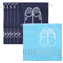 kilofly 10pc Travel Sleeve Transparent Storage Organizer Drawstring Shoe Bag Set
