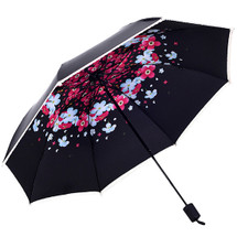 kilofly Anti-UV Hidden Flowers Lace Trim Travel Parasol Folding Umbrella, UPF 40