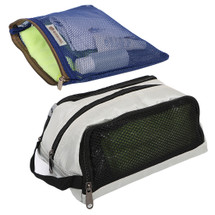 kilofly 2pc Zippered Mesh Travel Pouch Toiletry Bag Wash Kit Hand Carry Combo