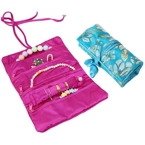 kilofly Soft Silk Embroidery Brocade Jewelry Roll Travel Organizer