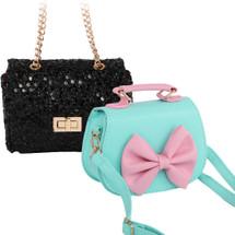 kilofly 2pc Little Girls Detachable Strap Handbag Sequins Shoulder Bag Combo Set