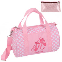 kilofly Girls Ballerina Ballet Tutu Duffel Crossbody Dance Bag + Zippered Pouch