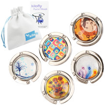 kilofly Purse Hook [Set of 5] Girls Foldable Handbag Holder + KF Pouch