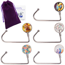 kilofly Purse Hook [Set of 5] Girls Handbag Holder, with nice Pouch