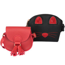 kilofly 2pc Little Girls Cute Cat Handbag Shoulder Bag Crossbody Purse Combo Set