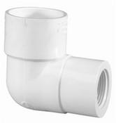 """1-1/2"""" x 1"""" PVC Reducing 90° Ell Slip x FPT Sch 40 (PF 407-211)"""