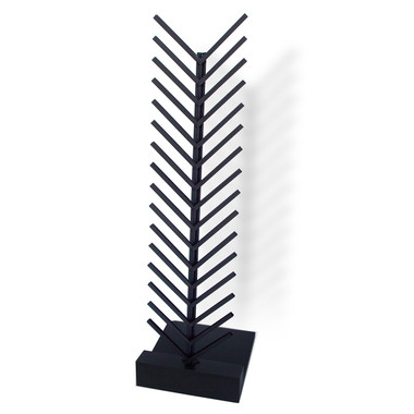 "The McReady Rack Tile Display holds loose flooring samples up to 1/2"" thick and has a black powder coated steel spine and channels - with black melamine base."