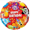 Birthday Party Animals 18 Inch Foil Balloon. Animals include Giraffe, Monkey, Panda, Lion & Hippo