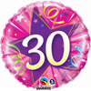 30th Birthday Shining Star Hot Pink 18 Inch Foil Balloon